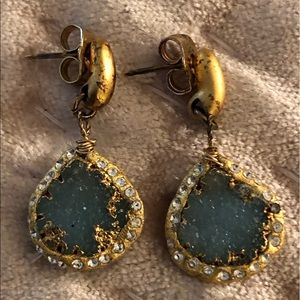 Hand painted Gold Patina and Blue Druzy Earrings